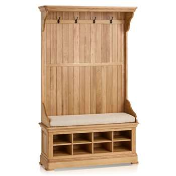 Canterbury Natural Solid Oak Hallway Unit, Plain Beige (H197 x W121 x D40cm)