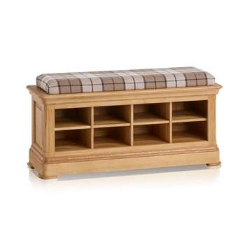 Canterbury Natural Solid Oak Shoe Storage, Check Brown (H52 x W121 x D40cm)