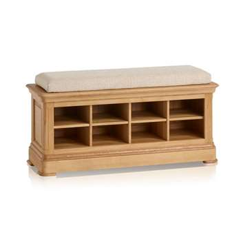 Canterbury Natural Solid Oak Shoe Storage, Plain Beige (H52 x W121 x D40cm)