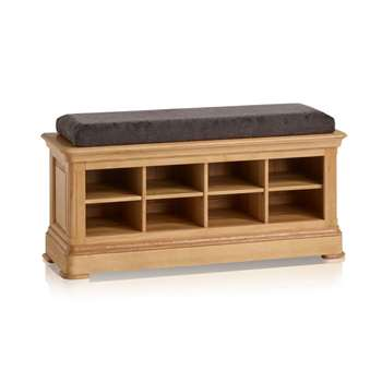 Canterbury Natural Solid Oak Shoe Storage, Plain Charcoal (H52 x W121 x D40cm)