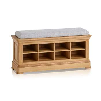 Canterbury Natural Solid Oak Shoe Storage, Plain Grey (H52 x W121 x D40cm)