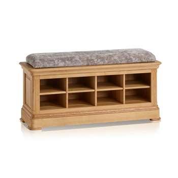 Canterbury Natural Solid Oak Shoe Storage, Plain Truffle (H52 x W121 x D40cm)