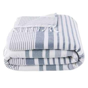 CAP FERRET Ecru Cotton Fouta Beach Towel with Blue Graphic Print (H100 x W200cm)