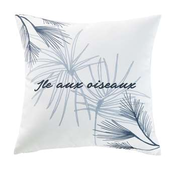 CAP FERRET White Outdoor Cushion with Plant Print (H45 x W45 x D10cm)