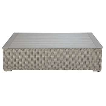 CAPE TOWN Garden coffee table in composite and grey resin wicker Cape (34 x 132cm)