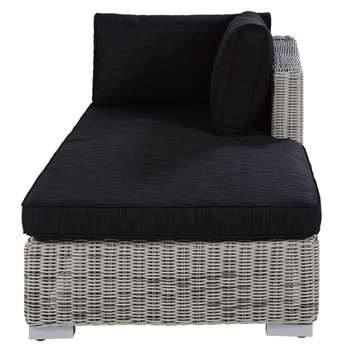CAPE TOWN Modular right hand garden chaise in grey resin wicker (82 x 168cm)
