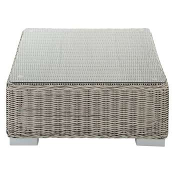 CAPE TOWN Tempered glass and wicker garden coffee table in grey (31 x 77cm)