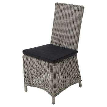 CAPE TOWN Garden chair in grey resin wicker, charcoal grey cushion (95 x 47cm)