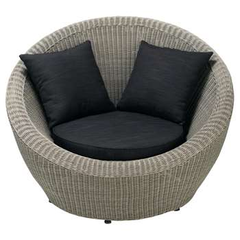 CAPE TOWN Round garden armchair in grey resin wicker, charcoal grey (86 x 120cm)