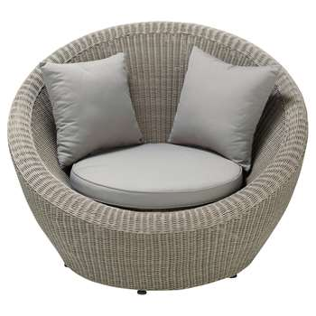 CAPE TOWN Round garden armchair in grey resin wicker, light grey (86 x 120cm)