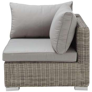 CAPE TOWN Wicker garden sofa corner unit in light grey (69 x 87cm)