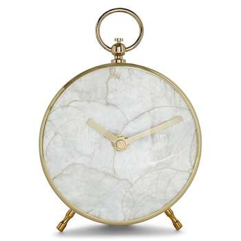 Capiz Shell Mantle Clock (H16.5 x W12.5 x D6cm)