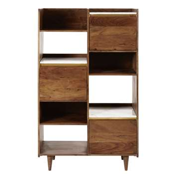 CAPPUCCINO White Marble and Solid Acacia 3-Door Shelf Unit (H150 x W88 x D35cm)