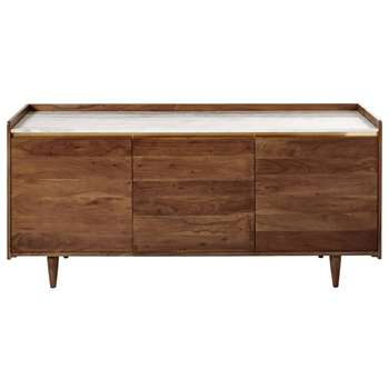 CAPPUCCINO White Marble and Solid Acacia 3-Door Sideboard (H75 x W160 x D45cm)