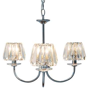 Capri 3 Light Chandelier with Glass Shades (73.5 x 54cm)