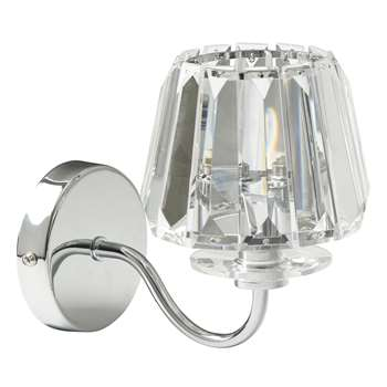 Capri Chrome Wall Light with Clear Glass Shade (17.5 x 18cm)