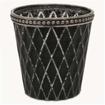 Capri Diamond T-Light Holder in Charcoal Finish (H7.5 x W7.5 x D7.5cm)