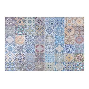 CAPRI fabric rug with multicoloured cement tile motifs (150 x 230cm)