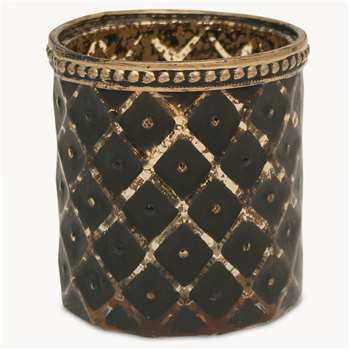Capri Ikat T-Light Holder in Bronze Finish (H7.5 x W7 x D7cm)