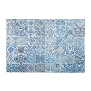 CAPRI rug with blue cement tile checked motifs (140 x 200cm)