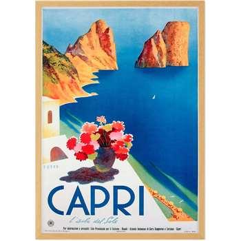 Capri Vintage Travel Framed A2 Wall Art Print, Multi (H62 x W44 x D2cm)