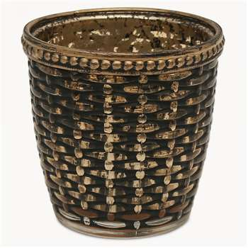 Capri Weaved T-Light Holder in Bronze Finish (H7.5 x W7.5 x D7.5cm)
