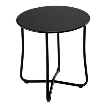 CAPSULE Metal garden side table in black D 45cm