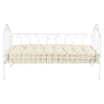 CAPUCINE 2 seater cotton and metal bench seat in ivory (89 x 154cm)