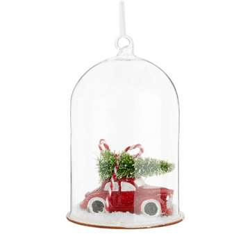 Car and Christmas Tree under Glass Bell Jar Christmas Hanging Decoration (H11.5 x W7.5 x D7.5cm)