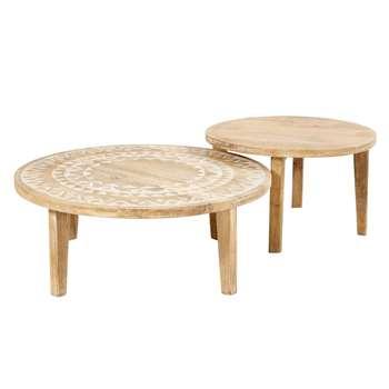 CARAIBA 2 Solid Mango Wood Coffee Tables with White Motifs (36 x 80cm)