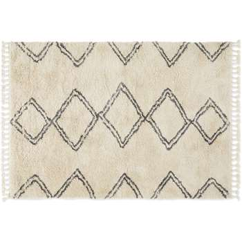 Caram Berber Style Rug, Extra Large, Off White & Charcoal Grey (H200 x W300cm)