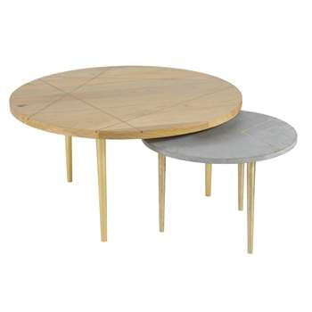 CARLOTTA Solid Mango Wood and Gold Metal Nest of Tables (40 x 81cm)