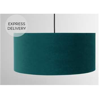 Carmella Drum Lamp Shade, Peacock Blue Velvet (H20 x W45 x D45cm)