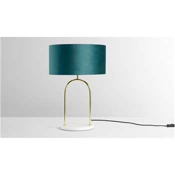 Carmella Table Lamp, Peacock Blue, Brass & Marble (H55 x W37 x D37cm)