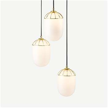 Carole Cluster Lamp, White & Brass (H100 x W35 x D35cm)