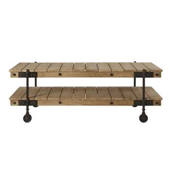 CARRELLO - Industrial Wheeled Coffee Table in Mango Wood and Black Metal (H47 x W130 x D64cm)