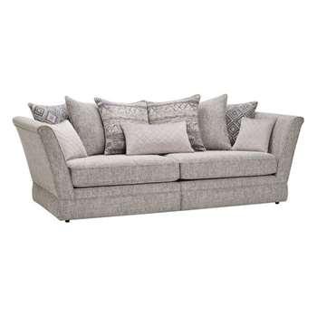 Carrington Silver Fabric 4 Seater Sofa with Back Cushions (H98 x W251.5 x D102cm)