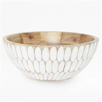 Carved Ellipse Bowl - White (H10 x W24 x D24cm)