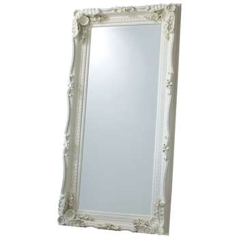 Carved Louis Leaner Mirror, Cream (176 x 89.5cm)