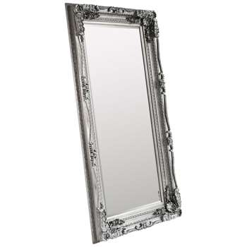 Carved Louis Leaner Mirror, Silver (176 x 89.5cm)
