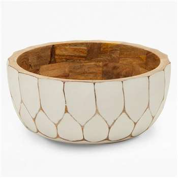 Carved Penatgon Bowl - White (H10 x W24 x D24cm)
