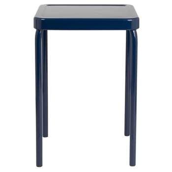 CARYOTA - Blue Metal Stool (H47 x W37 x D37cm)