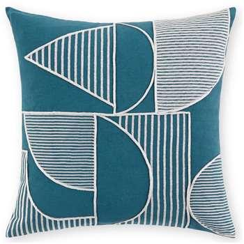 Cassar Embroidered Cushion, Aegean Blue (H45 x W45cm)