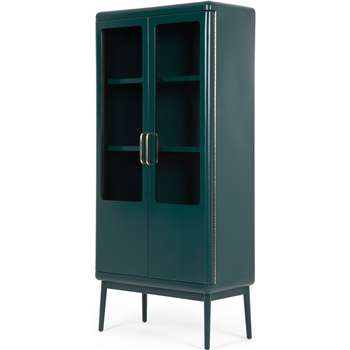 Cassey Cabinet, Green and Brass (H167 x W77 x D40cm)
