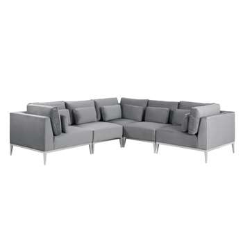 Cassie Large Corner Sofa – Dove Grey – Stainless Steel Base (H73 x W275 x D275cm)