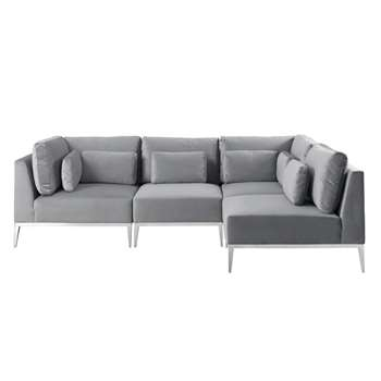 Cassie Left Hand Corner Sofa – Dove Grey – Stainless Steel Base (H73 x W275 x D175cm)