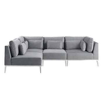 Cassie Right Hand Corner Sofa – Dove Grey – Stainless Steel Base (H73 x W275 x D175cm)
