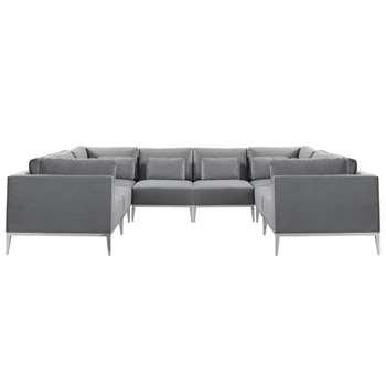 Cassie Super Lounge Suite – Dove Grey – Stainless Steel Base (H73 x W350 x D275cm)