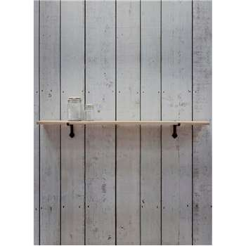 Cast Iron Bracket Shelf, Large - Raw Oak (3 x 120cm)