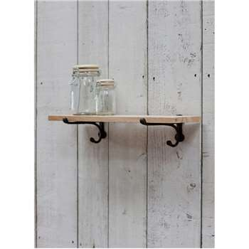 Cast Iron Bracket Shelf, Small - Raw Oak (3 x 55cm)